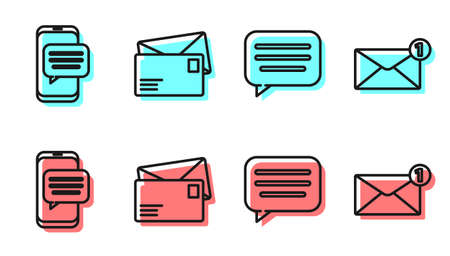 Set line Speech bubble chat, Chat messages notification on phone, Envelope and Envelope icon. Vector.