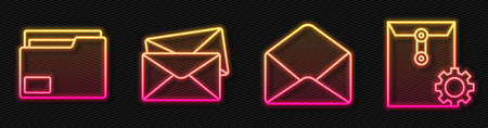 Set line Envelope, Document folder, Envelope and Envelope setting. Glowing neon icon. Vector.