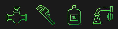 Set line Big bottle with clean water, Industry pipe and valve, Pipe adjustable wrench and Water tap. Gradient color icons. Vector.