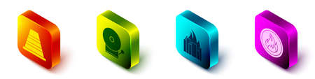 Set Isometric Traffic cone, Ringing alarm bell, Fire in burning buildings and Fire flame icon. Vector