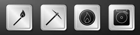 Set Burning match with fire, Pickaxe, Fire flame and Ringing alarm bell icon. Silver square button. Vector