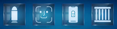 Set Bullet, Face recognition, Mobile with closed padlock and Prison window. Square glass panels. Vector Illustration