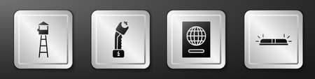 Set Watch tower, Police electric shocker, Passport and Flasher siren icon. Silver square button. Vector.