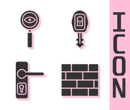 Set Bricks, Magnifying glass Search, Door handle and Car key with remote icon. Vector. 向量圖像