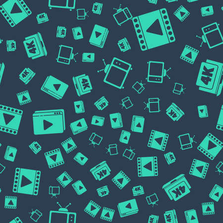 Set Retro tv, Play Video, Online play video and Laptop with 4k video on seamless pattern. Vector. Ilustração