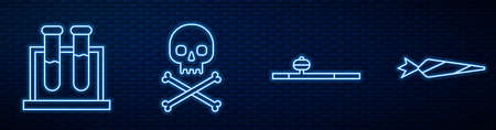 Set line Opium pipe, Test tube and flask, Skull on crossbones and Marijuana joint. Glowing neon icon on brick wall. Vector Illusztráció