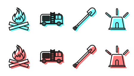 Set line Fire shovel, Campfire, Fire truck and Flasher siren icon. Vector Illustration