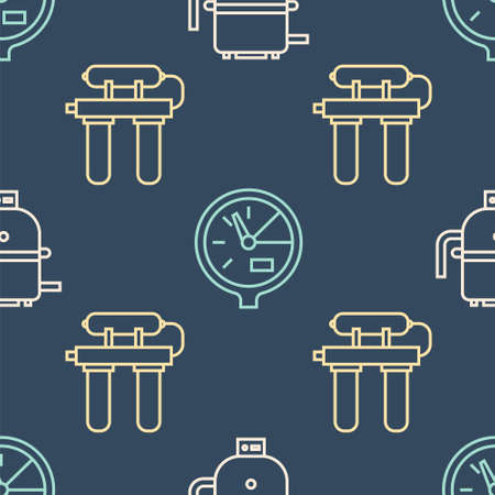 Set line Electric boiler for heating water, Water filter and Water meter on seamless pattern. Vector.