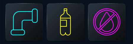 Set line Industry metallic pipe, Water drop forbidden and Bottle of water. Black square button. Vector