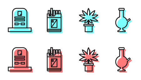 Set line Marijuana or cannabis plant in pot, Tombstone with RIP written, Open cigarettes pack box and Glass bong for smoking marijuana icon. Vector Illusztráció