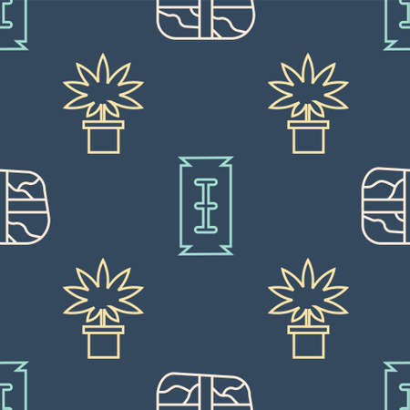 Set line Package with cocaine, Marijuana or cannabis plant in pot and Blade razor on seamless pattern. Vector