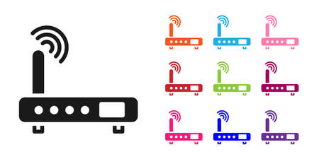 Black Router and wi-fi signal icon isolated on white background. Wireless ethernet modem router. Computer technology internet. Set icons colorful. Vector Illustration.