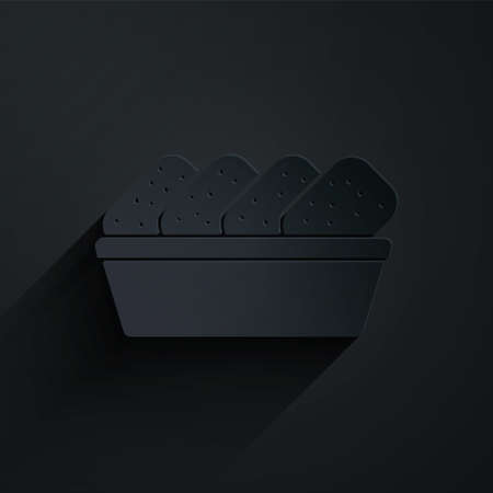 Paper cut Chicken nuggets in box icon isolated on black background. Paper art style. Vector Illustration.