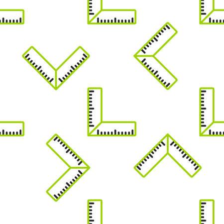 Line Corner ruler icon isolated seamless pattern on white background. Setsquare, angle ruler, carpentry, measuring utensil, scale.  Vector Illustration. Ilustrace