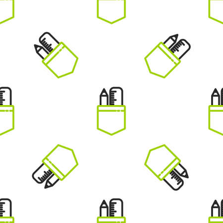 Line Crossed ruler and pencil icon isolated seamless pattern on white background. Straightedge symbol. Drawing and educational tools.  Vector Illustration.