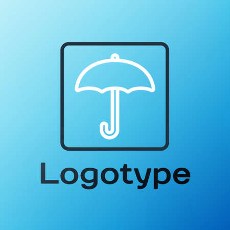 Line Umbrella icon isolated on blue background. Waterproof icon. Protection, safety, security concept. Water resistant symbol. Colorful outline concept. Vector Illustration.