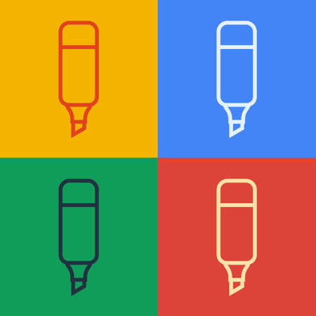 Pop art line Marker pen icon isolated on color background. Vector Illustration. 向量圖像