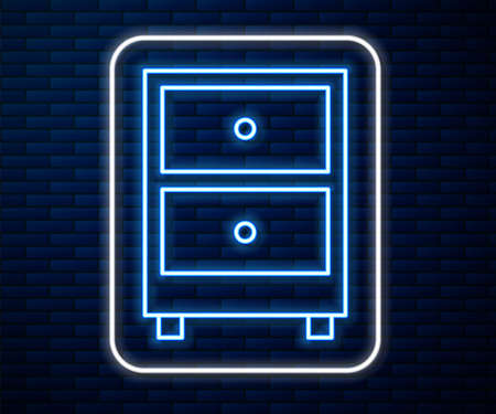 Glowing neon line Drawer with documents icon isolated on brick wall background. Archive papers drawer. File Cabinet Drawer. Office furniture. Vector Illustration. Vettoriali