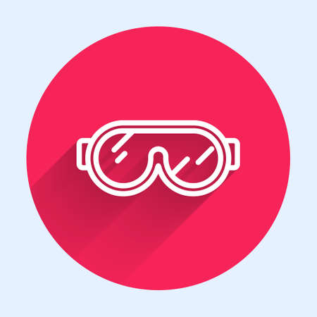 White line Ski goggles icon isolated with long shadow. Extreme sport. Sport equipment. Red circle button. Vector Illustration. Ilustrace