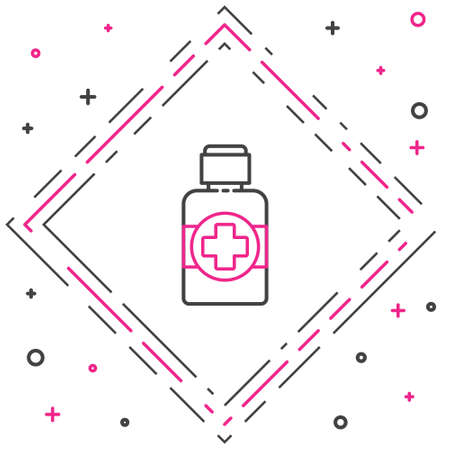 Line Bottle of medicine syrup icon isolated on white background. Colorful outline concept. Vector Illustration Иллюстрация