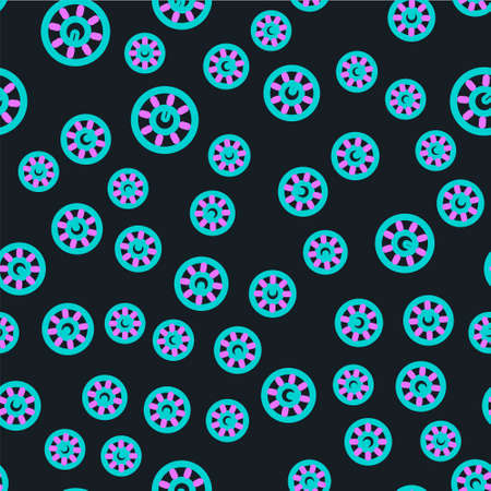 Line Dial knob level technology settings icon isolated seamless pattern on black background. Volume button, sound control, analog regulator. Vector Illustration