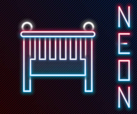 Glowing neon line Baby crib cradle bed icon isolated on black background. Colorful outline concept. Vector Illustration Ilustrace