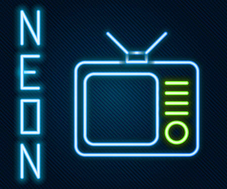 Glowing neon line Retro tv icon isolated on black background. Television sign. Colorful outline concept. Vector Illustration