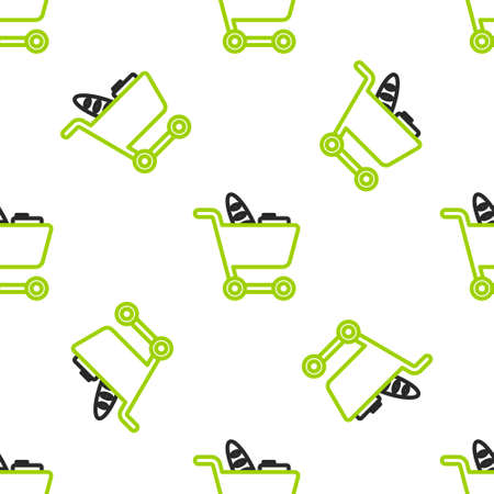 Line Shopping cart and food icon isolated seamless pattern on white background. Food store, supermarket. Vector Illustration
