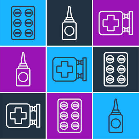 Set line Pills in blister pack, Hospital signboard and Bottle nasal spray icon. Vector
