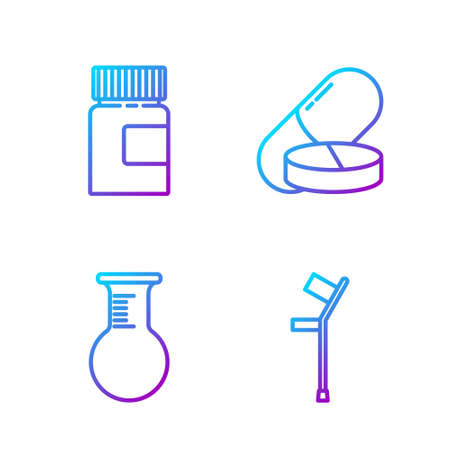 Set line Crutch or crutches, Test tube and flask, Medicine bottle and Medicine pill or tablet. Gradient color icons. Vector Vectores
