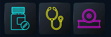 Set line Medicine bottle and pills, Otolaryngological head reflector and Stethoscope. Black square button. Vector Foto de archivo