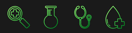 Set line Stethoscope, Magnifying glass for search medical, Test tube and flask and Donate drop blood with cross. Gradient color icons. Vector
