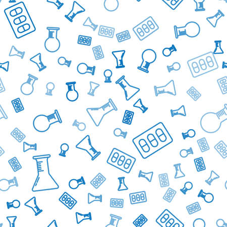 Set line Test tube and flask, Pills in blister pack and Test tube and flask on seamless pattern. Vector