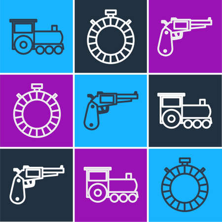 Set line Retro train, Revolver gun and Canteen water bottle icon. Vector