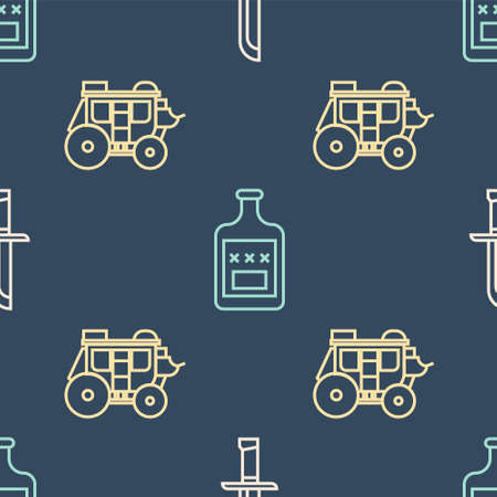 Set line Military knife, Western stagecoach and Whiskey bottle on seamless pattern. Vector Vectores