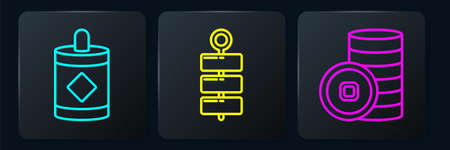 Set line Firework, Chinese Yuan currency and Firework. Black square button. Vector Ilustracja