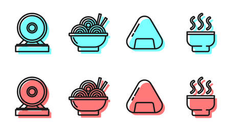 Set line Sushi, Gong, Asian noodles in bowl and Chinese tea ceremony icon. Vector