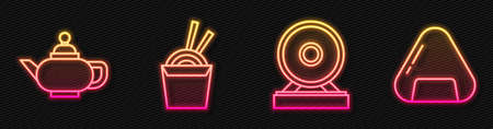 Set line Gong, Chinese tea ceremony, Asian noodles in paper box and chopsticks and Sushi. Glowing neon icon. Vector