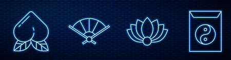Set line Lotus flower, Peach fruit, Paper chinese folding fan, Yin Yang and envelope and Decree, paper, parchment, scroll. Glowing neon icon on brick wall. Vector
