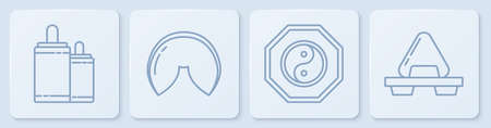 Set line Firework, Yin Yang, Chinese fortune cookie and Sushi on cutting board. White square button. Vector