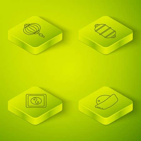 Set Isometric Chinese paper lantern, Yin Yang, Sushi and Chinese paper lantern icon. Vector