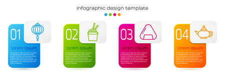Set line Chinese paper lantern, Asian noodles in paper box and chopsticks, Sushi and Chinese tea ceremony. Business infographic template. Vector