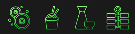 Set line Chinese tea ceremony, Chinese Yuan currency, Asian noodles in paper box and chopsticks and Firework. Gradient color icons. Vector