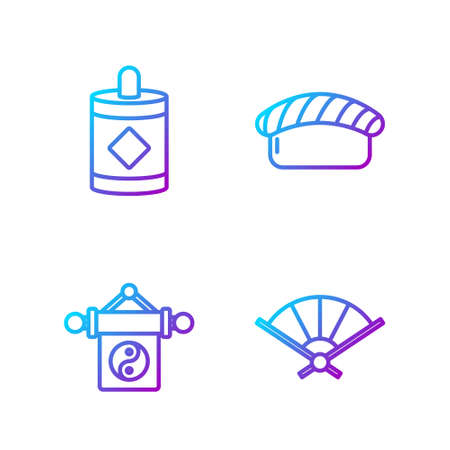 Set line Paper chinese folding fan, Yin Yang, Firework and Sushi. Gradient color icons. Vector