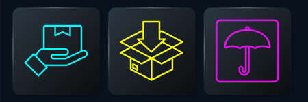 Set line Delivery hand with boxes, Umbrella and Cardboard box with traffic symbol. Black square button. Vector