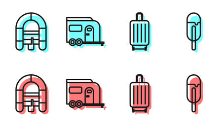 Set line Suitcase, Rafting boat, Rv Camping trailer and Ice cream icon. Vector