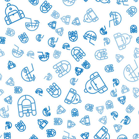 Set line Rafting boat, Hiking backpack and Coconut cocktail on seamless pattern. Vector 矢量图像