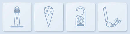 Set line Lighthouse, Please do not disturb, Ice cream in waffle cone and Snorkel. White square button. Vector