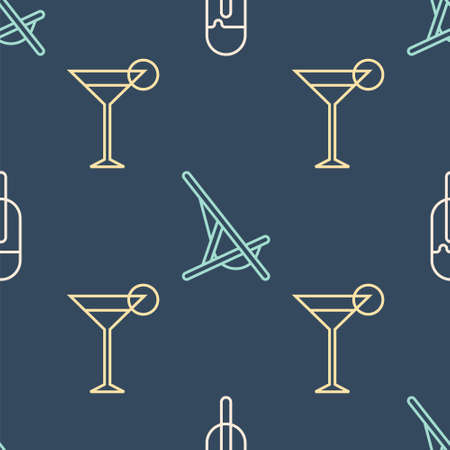 Set line Ice cream, Martini glass and Sunbed on seamless pattern. Vector