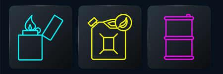 Set line Lighter, Barrel oil and Bio fuel canister. Black square button. Vector